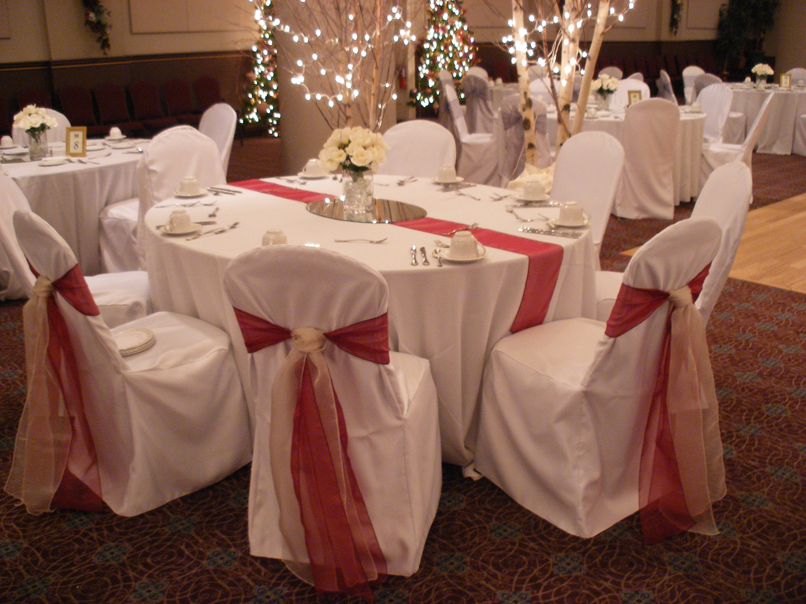 Cranberry champagne wedding - Cranberry And Champagne Sashes