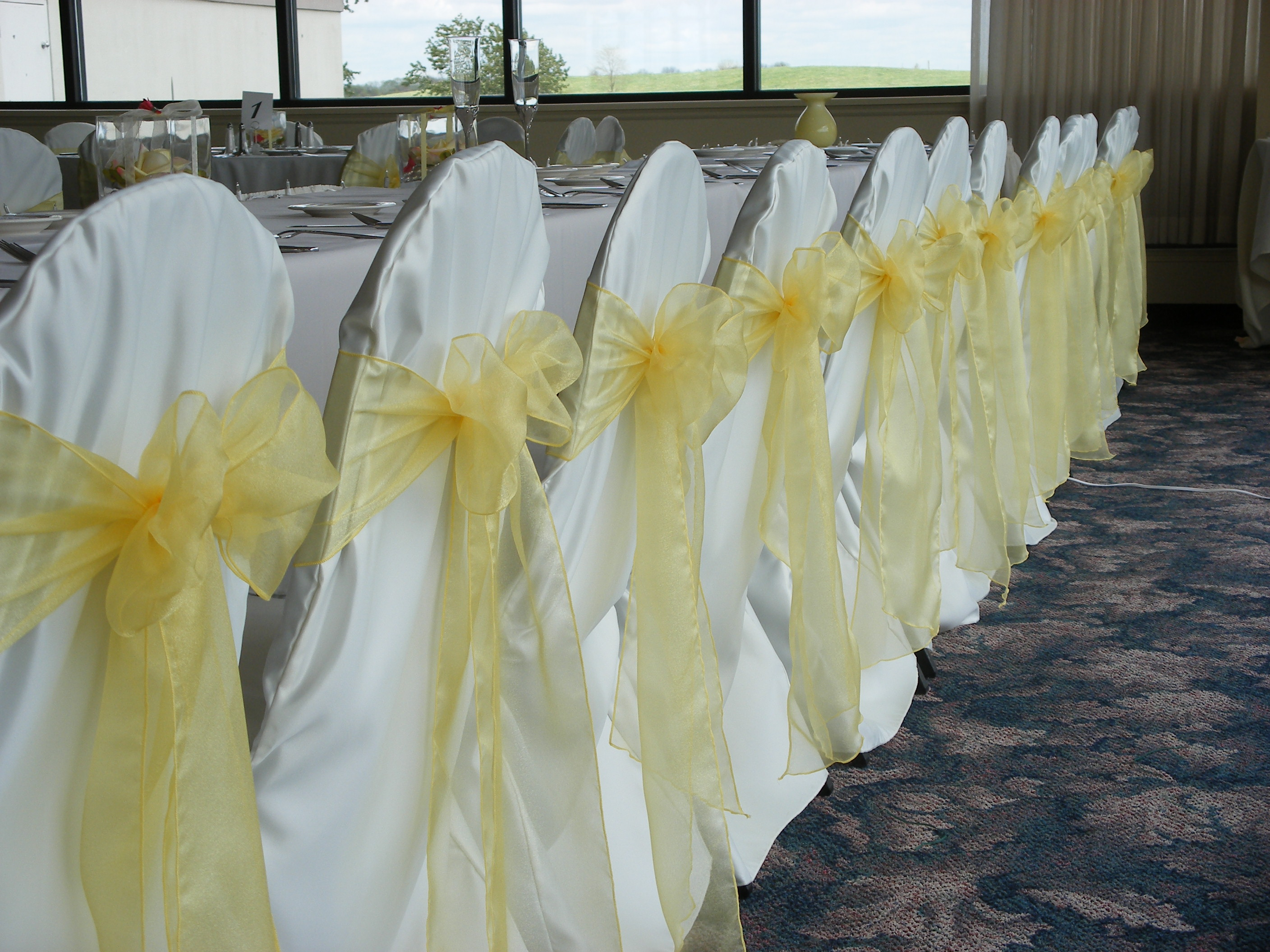 White Banquet Chair Covers - Sunshine yellow classic white covers